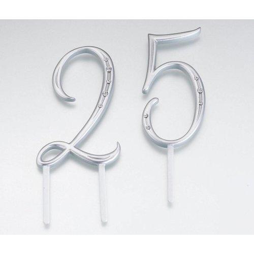 Silver Rhinestone Monogram Number Cake Topper