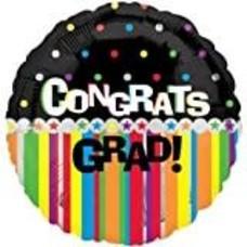 "*Congrats Grad Dots Stripes 18"" Mylar Balloon"
