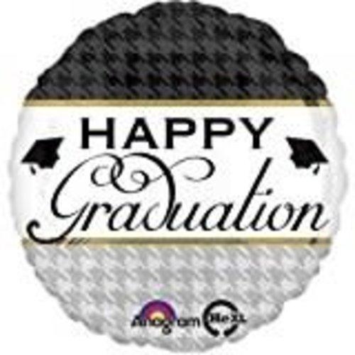 "*Happy Graduation Houndstooth 18"" Mylar Balloon"