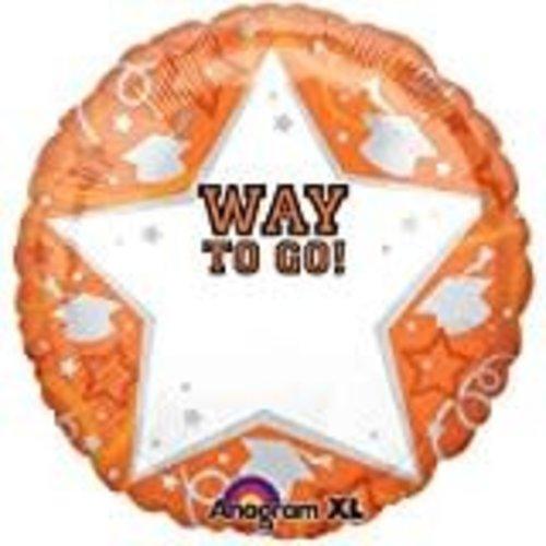 *Orange Star Way to Go Personalize Grad Mylar Balloon