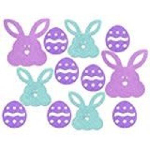 *Easter Eggs Bunny 12ct Glitter Cutouts