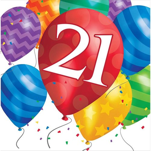 *Balloon Blast 21 Lunch Napkin 16ct