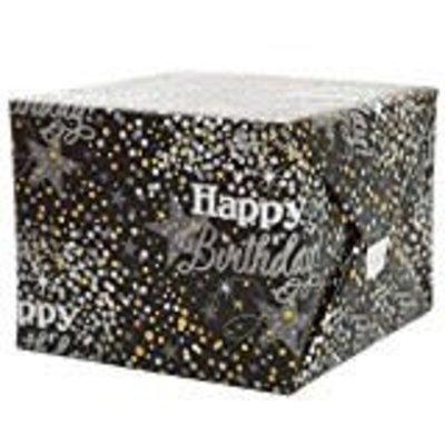 "*Birthday Black Silver Gift Wrap Roll 30"" x 5ft"