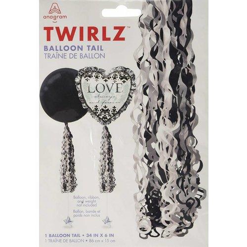 Elegant Black, Silver, White Balloon Tail