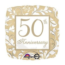Gold Scroll 50th Anniversary Mylar Balloon