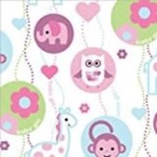 "*Baby Girl Monkey Roll Wrap 30"" x 5ft"