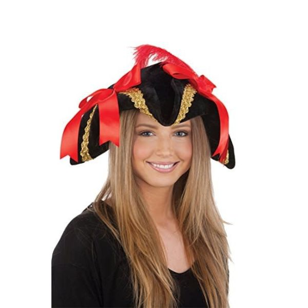 Jacobson Hat Company *Ladies Black Pirate Hat with Red Bows and Feather