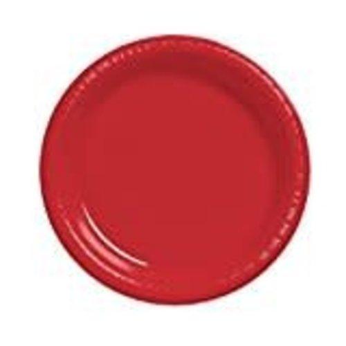 """*Classic Red 7"""" Plastic Dessert Plates 20ct"""