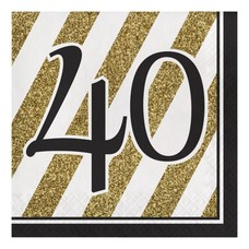 Black & Gold 40th Lunch Napkins