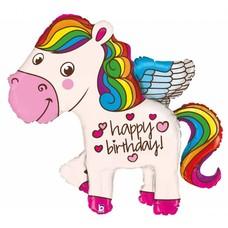 "Happy Birthday Rainbow Unicorn 45"" Jumbo Mylar"
