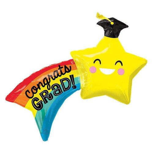 "*Congrats Grad! Shoot Star 34"" Jumbo Mylar"