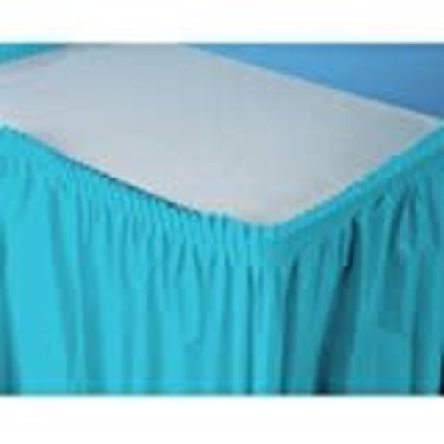 Bermuda Blue 14' Plastic Table Skirt