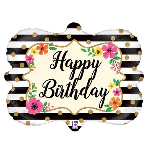 "Floral Frame Happy Birthday 30"" Jumbo Mylar"