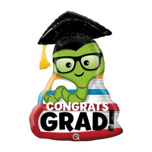 "Congrats Grad Bookworm 37"" Jumbo Mylar"