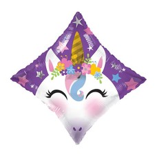Unicorn on Diamond Shape Mylar Balloon