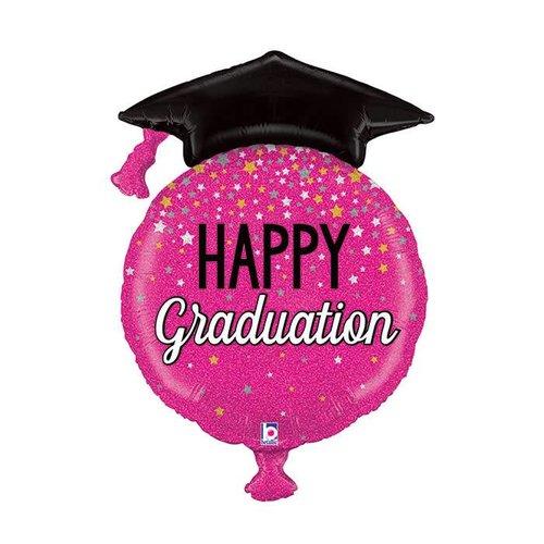 "Glittering Pink Congrats Grad 38"" Jumbo Mylar"
