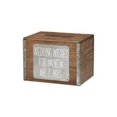 Wood Wedding Wishes Card Box