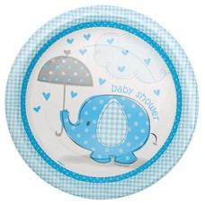 Umbrellaphants Blue 9in Plate