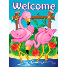 Pink Flamingos Garden Flag