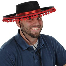 Black Felt Spanish Pom Pom Hat