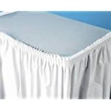 White 14' Plastic Table Skirt