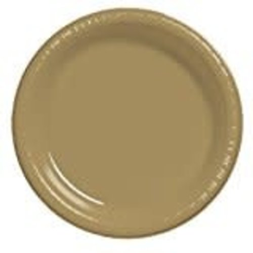 """Glittering Gold 10"""" Plastic Banquet Plate 20ct"""