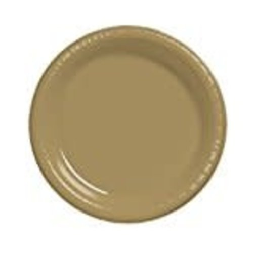 "Glittering Gold 7"" Plastic Dessert Plates 20ct"