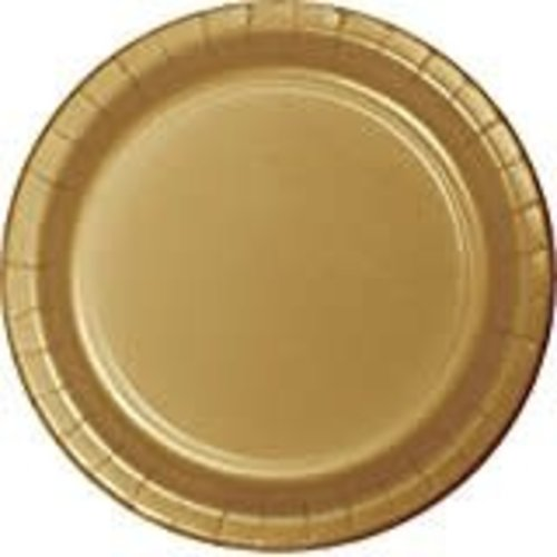 """Glittering Gold 7"""" Round Paper Plates 24ct"""