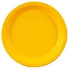 "School Bus Yellow 7"" Round Paper Dessert Plates 24ct"