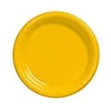 "School Bus Yellow 7"" Plastic Dessert Plates 20ct"