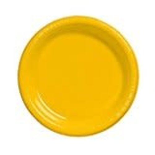 "School Bus Yellow 7"" Plastic Dessert Plates 20ct"