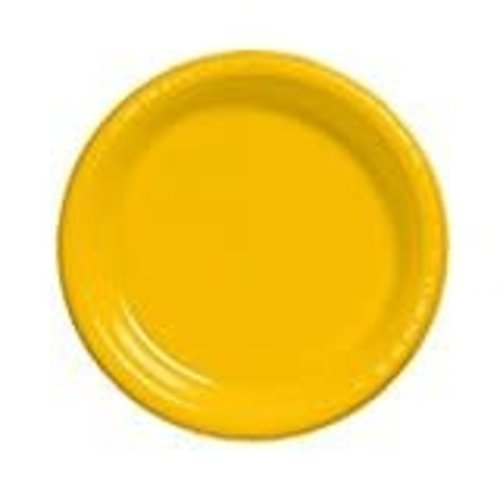 "School Bus Yellow 10"" Plastic Banquet Plates 20ct"