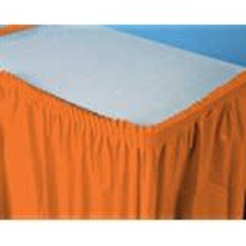 Sunkissed Orange 14' Plastic Table Skirt