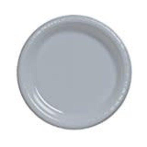 "*Shimmering Silver 7"" Plastic Dessert Plates 20ct"
