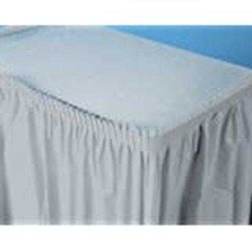 *Shimmering Silver 14' Plastic Table Skirt