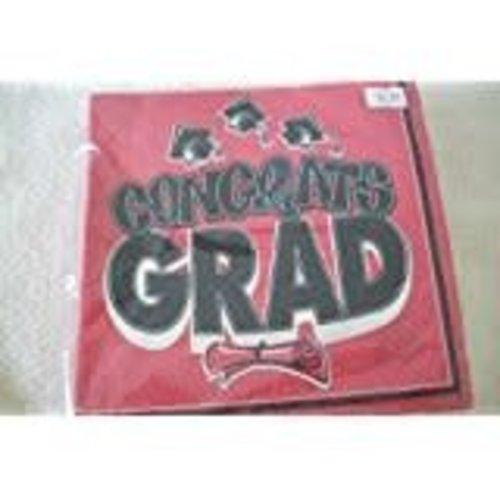 Red Congrats Grad Beverage Napkins 40ct