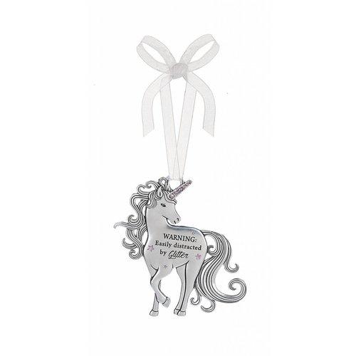 Warning Glitter Unicorn Ornament