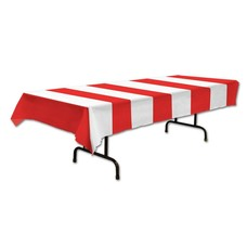 "Red and White Striped Tablecover 54""x108"