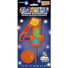 Number 4 Flashing Candle