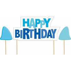 *Shark Splash Birthday Cake Pick Set