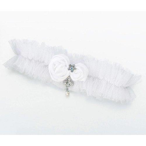 White Tulle Jeweled Garter