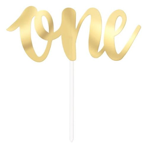 Gold One Cake Topper Pick