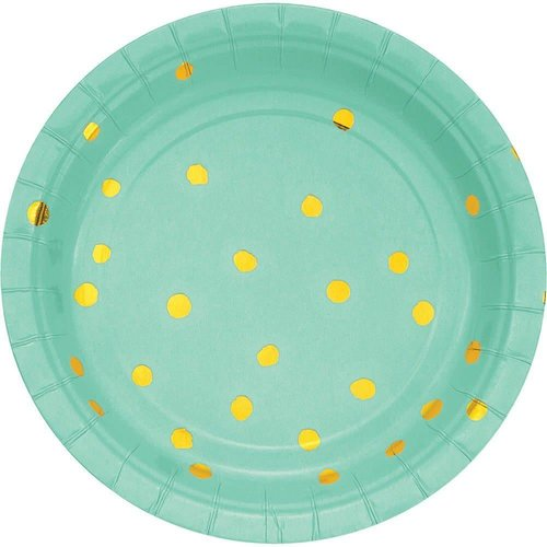 *Fresh Mint Gold Foil Polka Dot 7in Plate