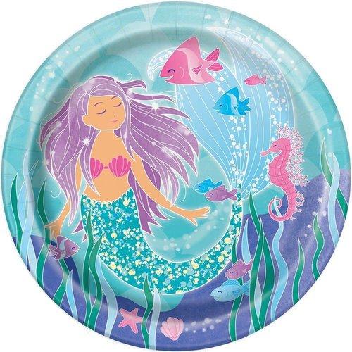 "*Mermaid Swimming 9"" plates 8ct"
