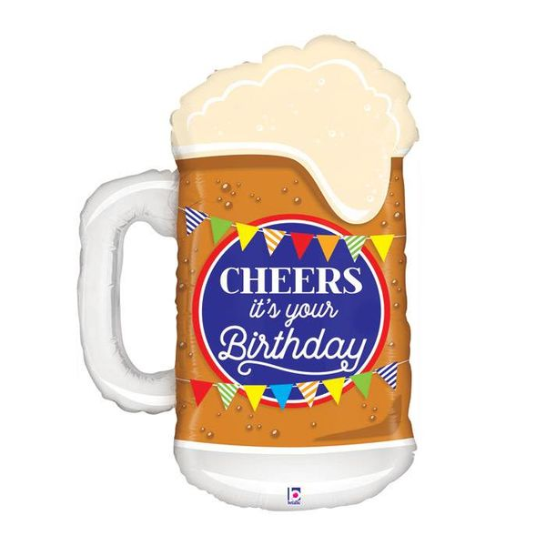 "*Cheers Birthday Beer Mug 34"" Mylar Balloon"