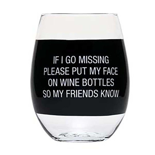 About Face Designs Face on Wine Bottle Stemless Wine Glass
