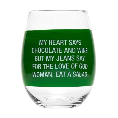About Face Designs My Heart Says Stemless Wine Glass
