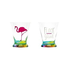 About Face Designs Flock Yeah Stemless Martini Glass Set