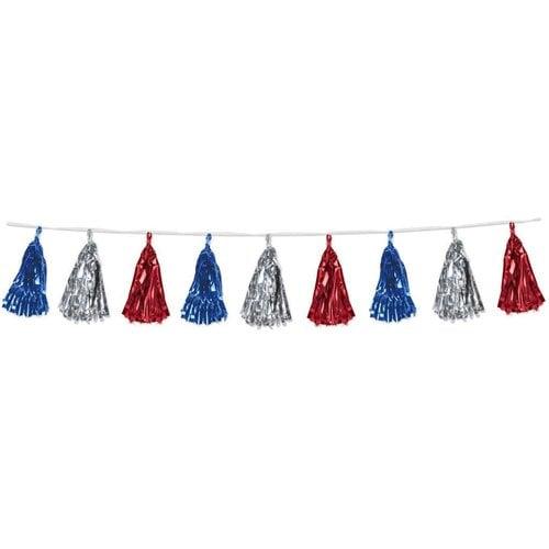 Metallic Tassel Garland Red, Silver, Blue