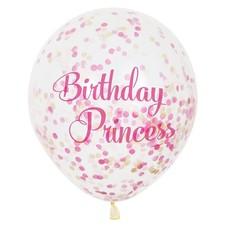 *Birthday Princess Pink Gold Confetti Balloons 6ct